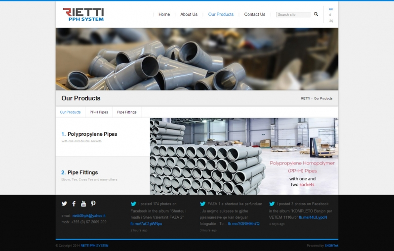 Website Design by SHOMTek - Rietti.al Products Page